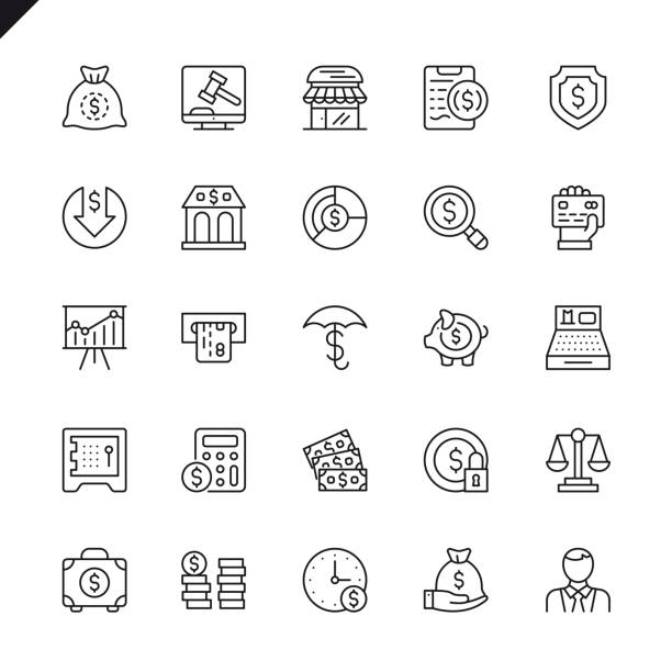 thin line money, finance, payments elements icons set - thin line icons stock illustrations, clip art, cartoons, & icons