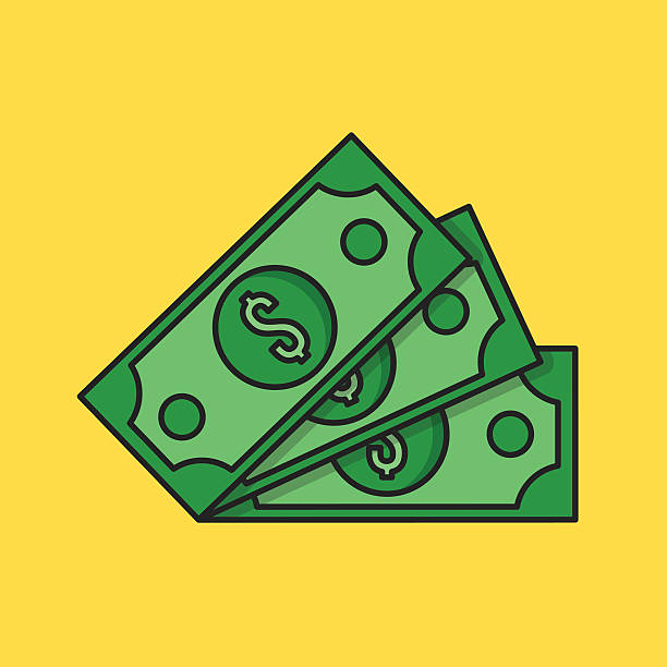 Thin line money icon. Three dollar banknotes. Flat vector illustration Thin line money icon. Three dollar banknotes. Modern clean flat design graphic elements for banners, websites, mobile app, infographics, printed materials. Vector illustration american one hundred dollar bill stock illustrations
