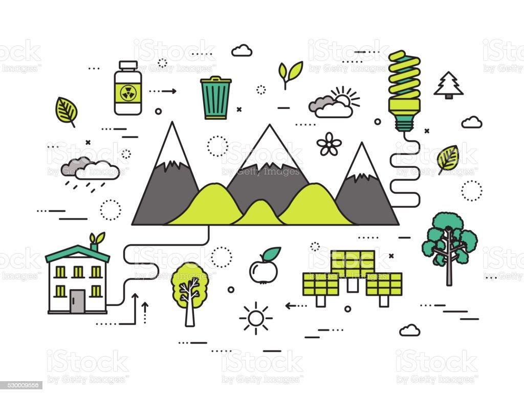 Dünne Linie Natürlichen Ressourcen Moderne Abbildung Konzept Stock ...