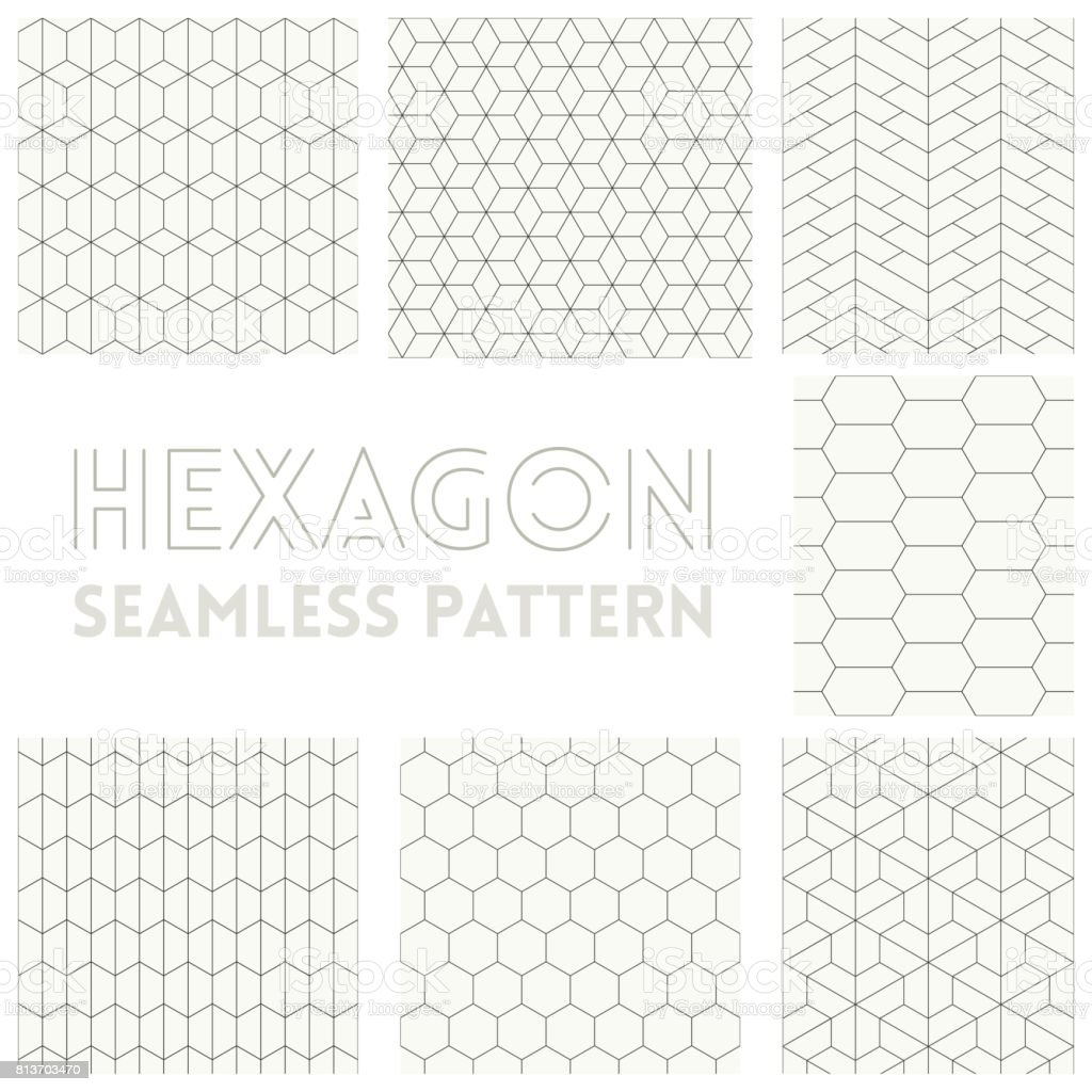 Thin line of Hexagon seamless pattern set collection vector art illustration