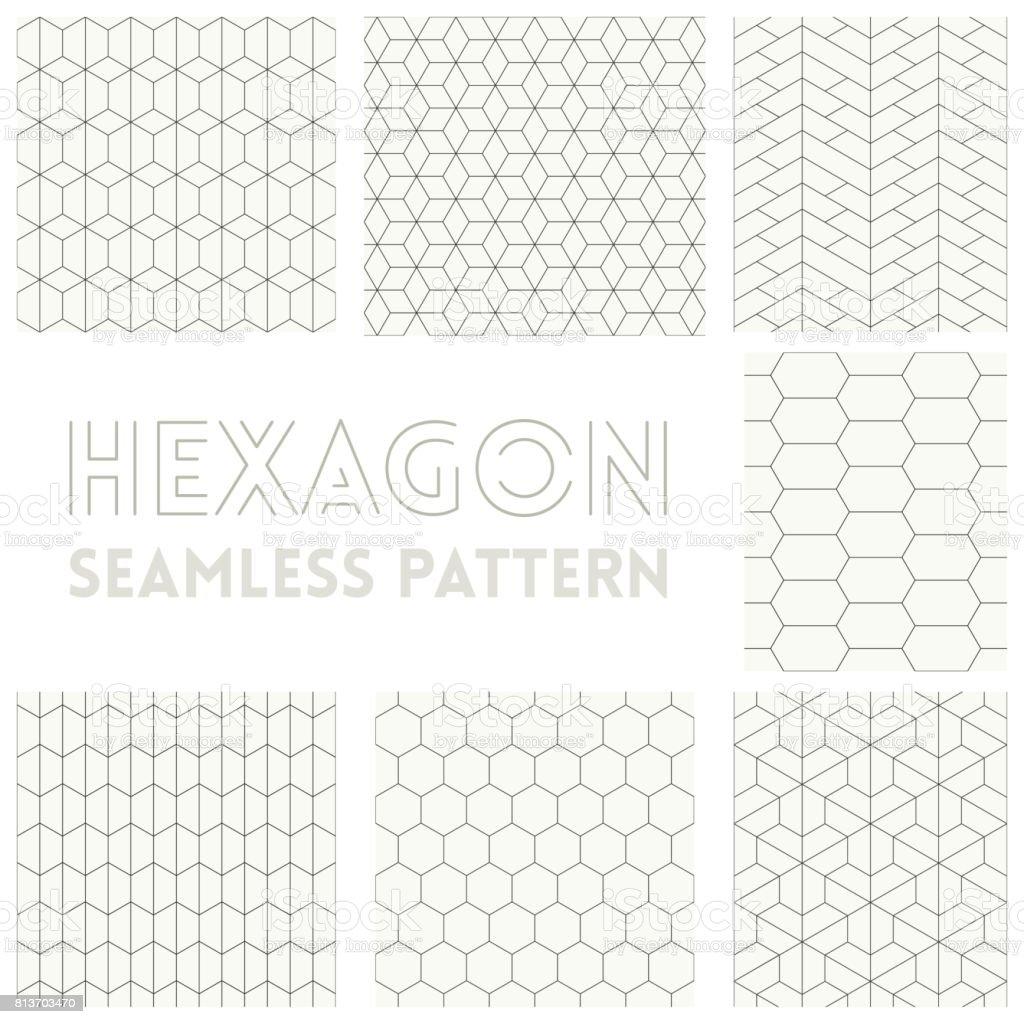 Thin line of Hexagon seamless pattern set collection vector art illustration