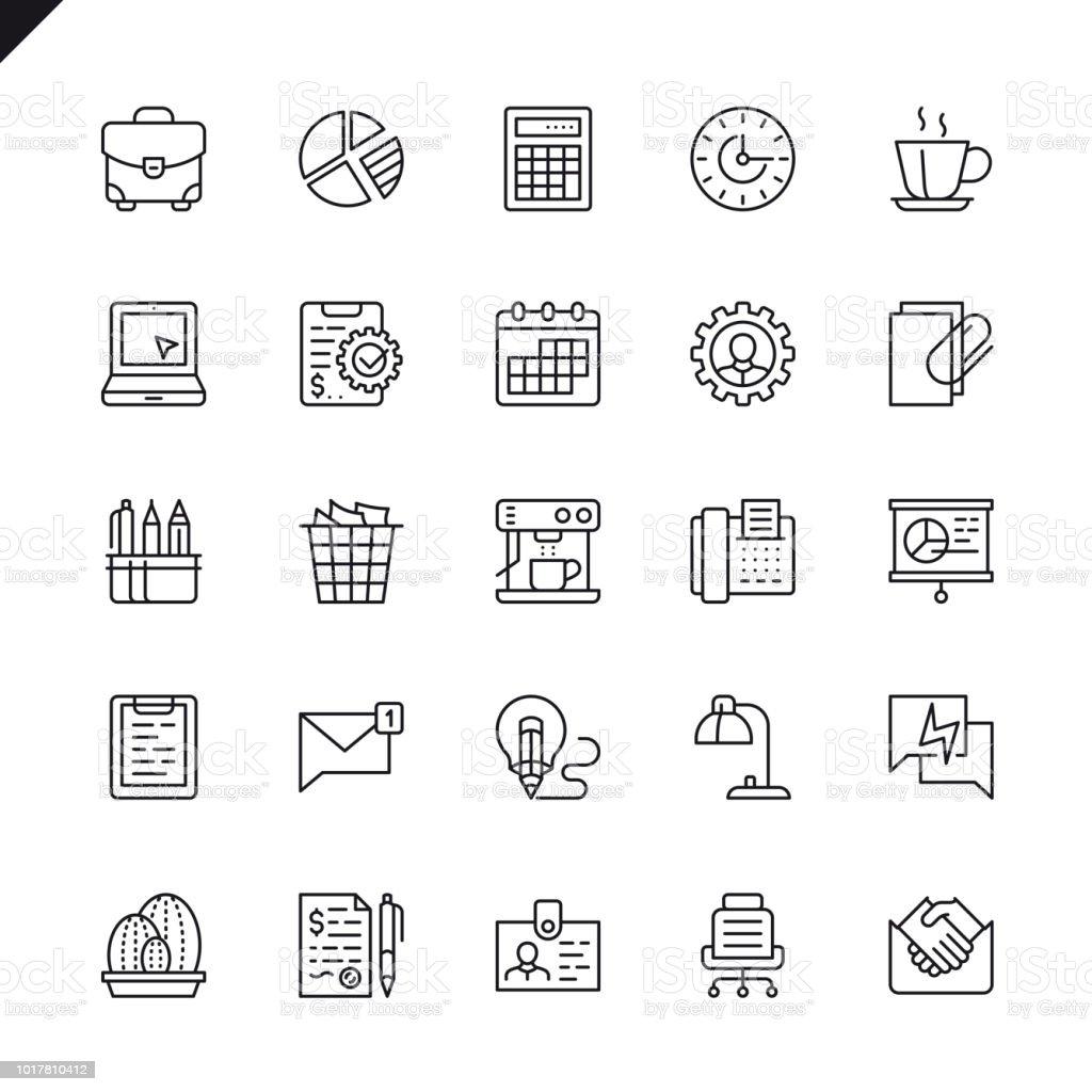 Oficina conjunto de iconos de línea fina - ilustración de arte vectorial
