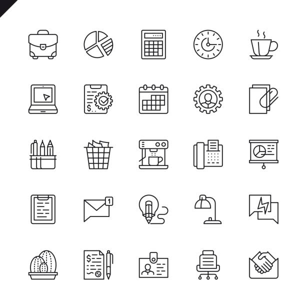 thin line office icons set - thin line icons stock illustrations, clip art, cartoons, & icons