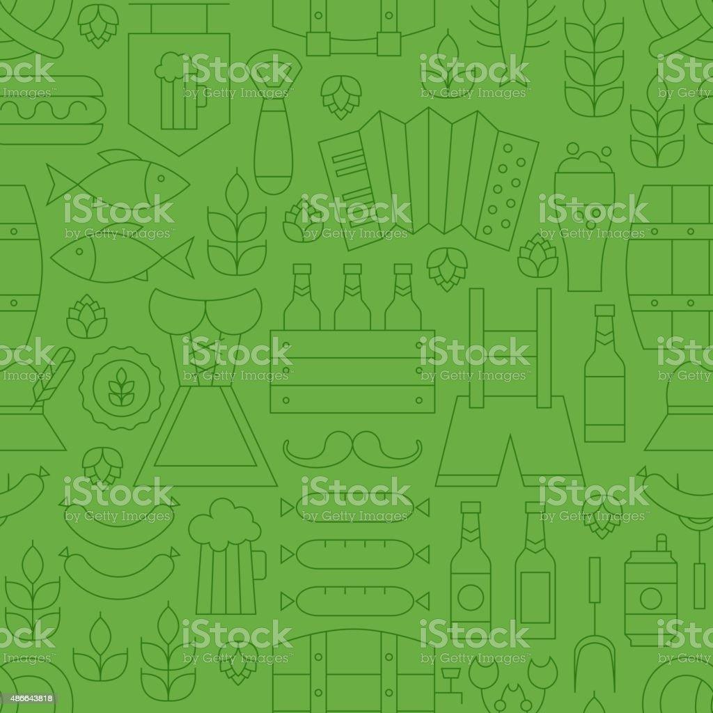 Thin Line Oktoberfest Holiday Seamless Green Pattern vector art illustration