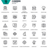 Thin line online education, e-learning, e-book icons