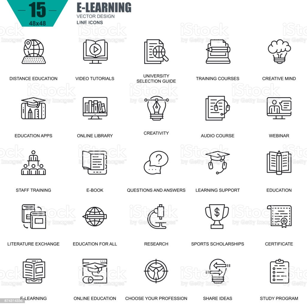 Thin line online education, e-learning, e-book icons vector art illustration