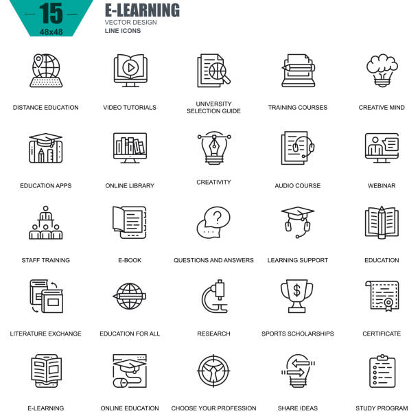 Thin line online education, e-learning, e-book icons Thin line online education, e-learning, e-book icons set for website and mobile site and apps. Contains such Icons as Book, Library, Webinar. 48x48 Pixel Perfect. Editable Stroke. Vector illustration. e reader stock illustrations