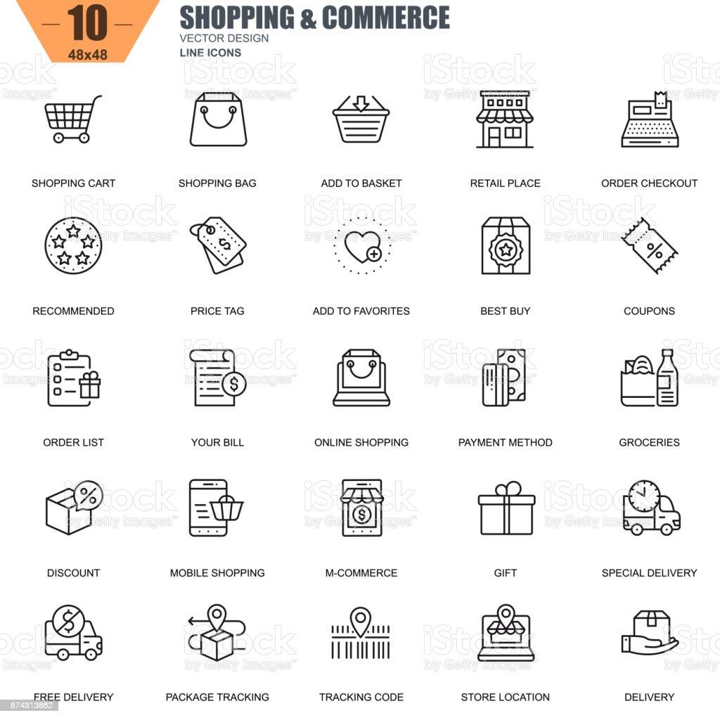 Dunne lijn online winkelen en e-commerce pictogrammen - Royalty-free Applicatie vectorkunst