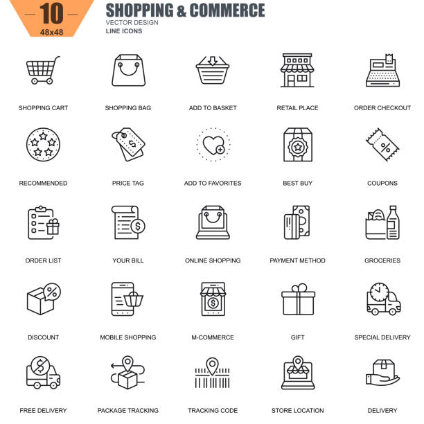 Thin line online shopping and e-commerce icons Thin line online shopping and e-commerce icons set for website and mobile site and apps. Contains such Icons as Basket, Delivery, Price Tag. 48x48 Pixel Perfect. Editable Stroke. Vector illustration. online shopping stock illustrations