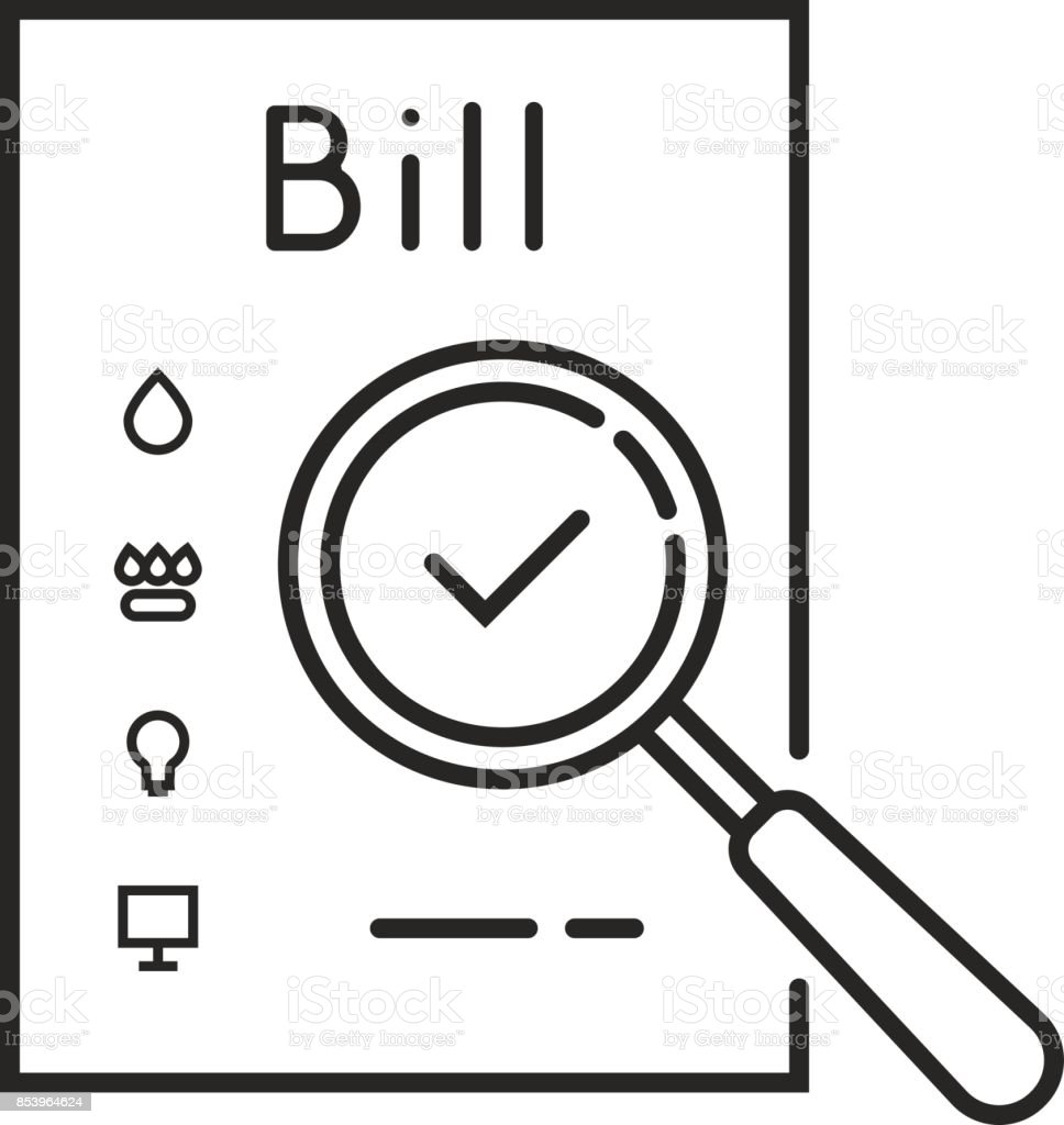 Thin Line Payment Of Utility Bills Icon Stock Illustration