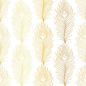 Thin line peacock tail pattern. Art deco repeat golden feathers pattern. Seamless gold vintage vector background. Luxury decorative ornamental wallpaper.