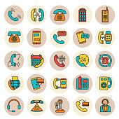 A thin line icon set of phone themed icons.