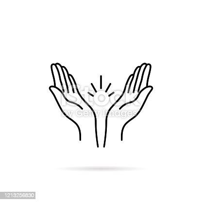 istock thin line prayer hands or applause 1213256830