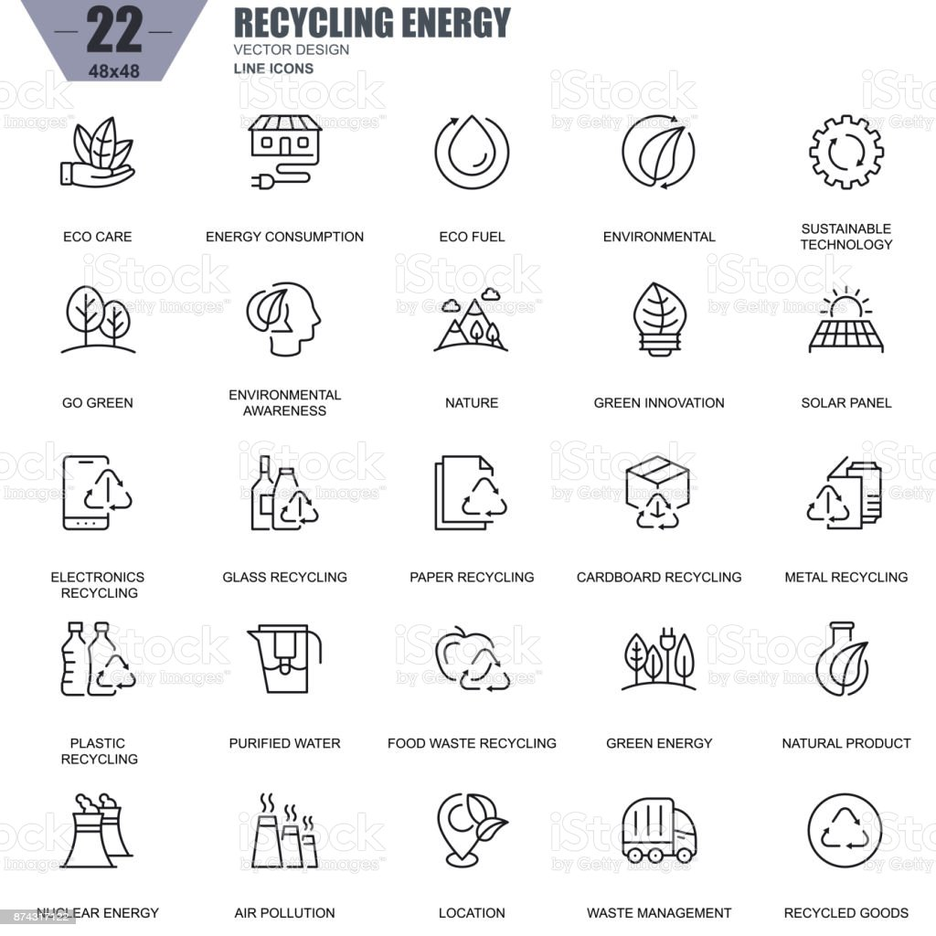 Thin line recycling, environmental protection, eco care icons vector art illustration