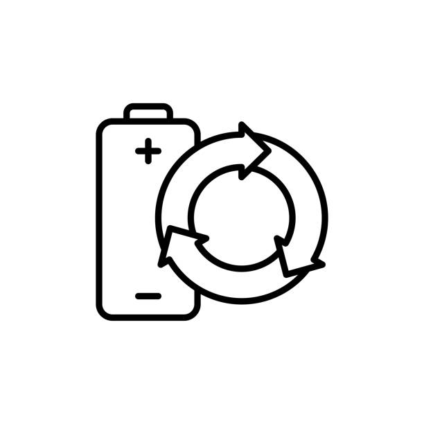 thin line renewable battery icon thin line renewable battery icon on white background rechargeable battery stock illustrations