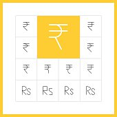 Thin line rupee sign
