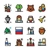Thin line Russia icons set, vector illustration