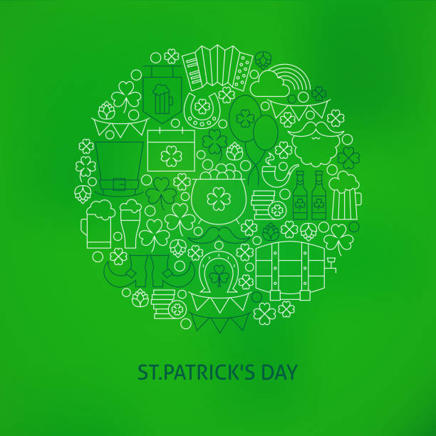Thin Line Saint Patrick Day Icons Set Circle Shaped Concept vector art illustration