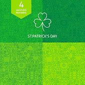 Thin Line Saint Patrick Day Patterns Set