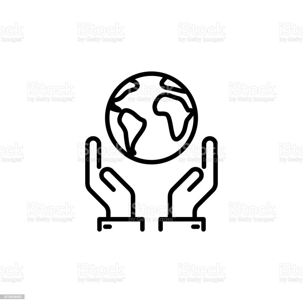 thin line save world, earth in hands icon vector art illustration