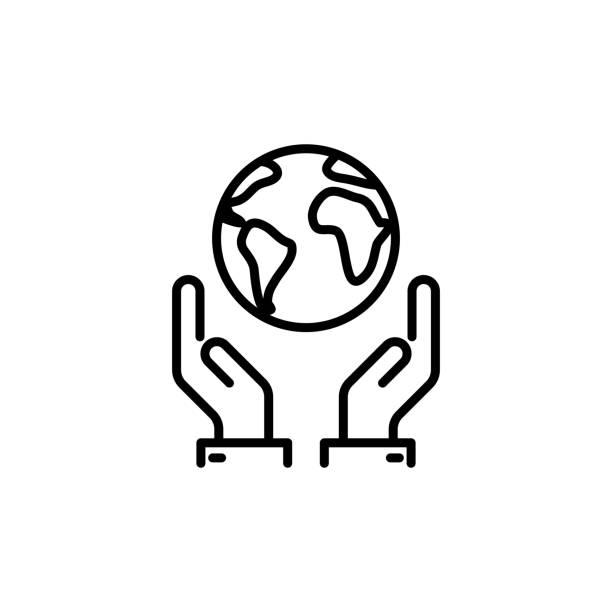 dünne linie, die welt zu retten, erde in händen-symbol - klimaschutz stock-grafiken, -clipart, -cartoons und -symbole