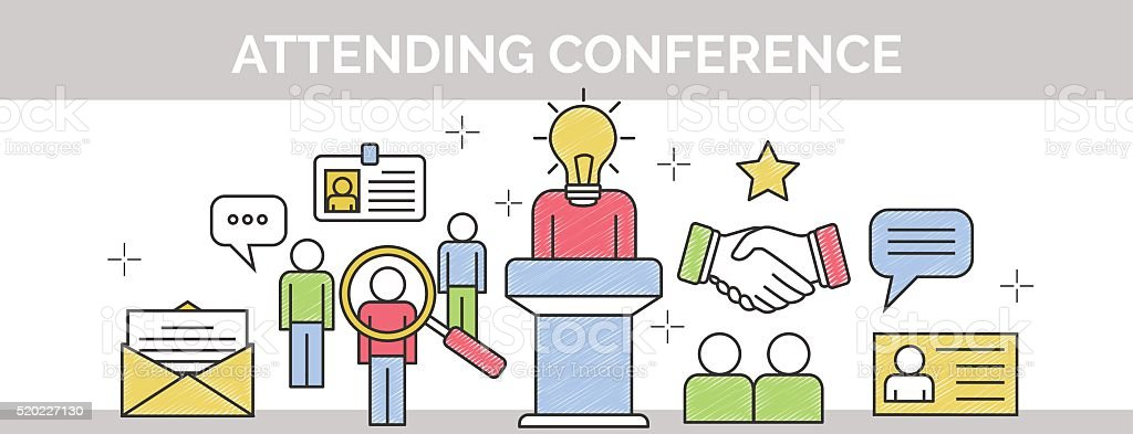 Thin line scribble banner for attending conference vector art illustration