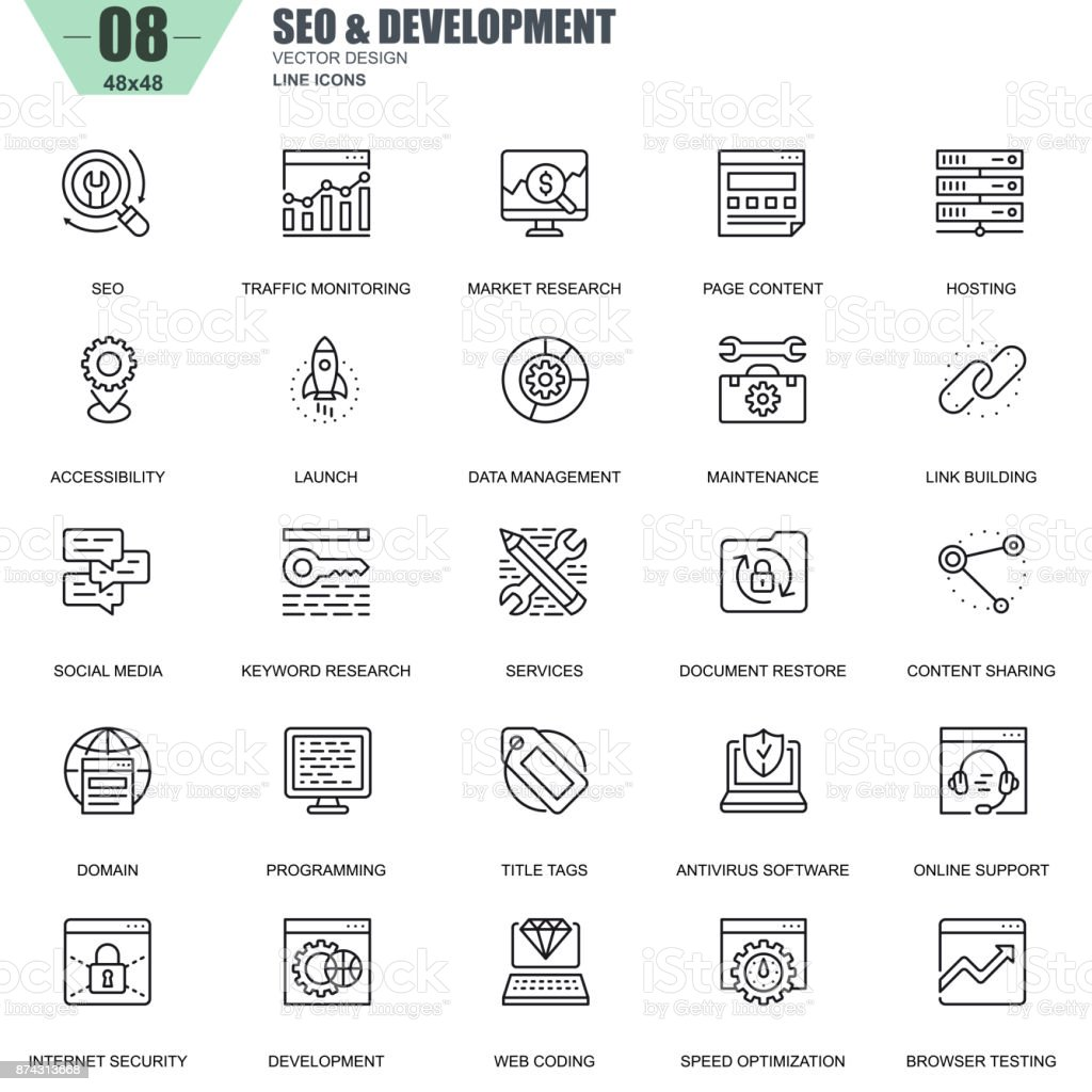 Thin line seo and development icons set for website vector art illustration
