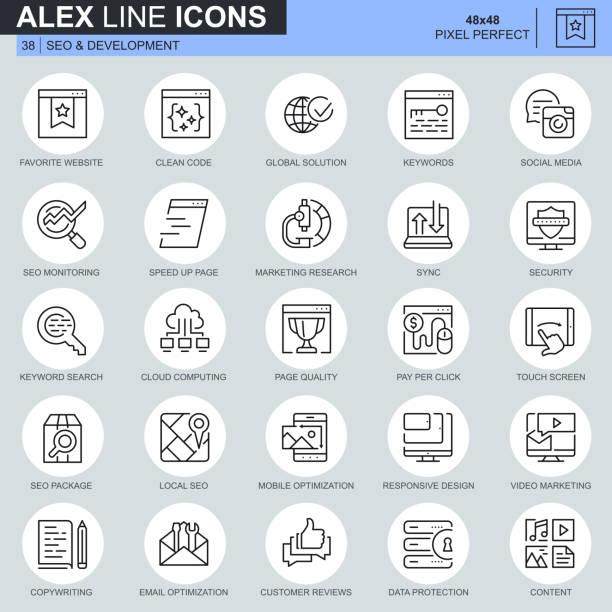 ilustraciones, imágenes clip art, dibujos animados e iconos de stock de delgada línea seo y desarrollo de los iconos de sitio web - europa oriental