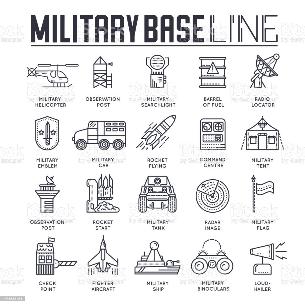 Thin line set of different rocket weapons and vehicles on military base concept.  Outline military base vector illustration design