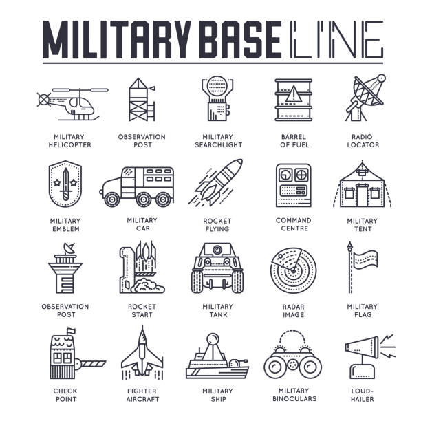 Thin line set of different rocket weapons and vehicles on military base concept.  Outline military base vector illustration design Thin line set of different rocket weapons and vehicles on military base concept.  Outline military base vector illustration design. air force stock illustrations