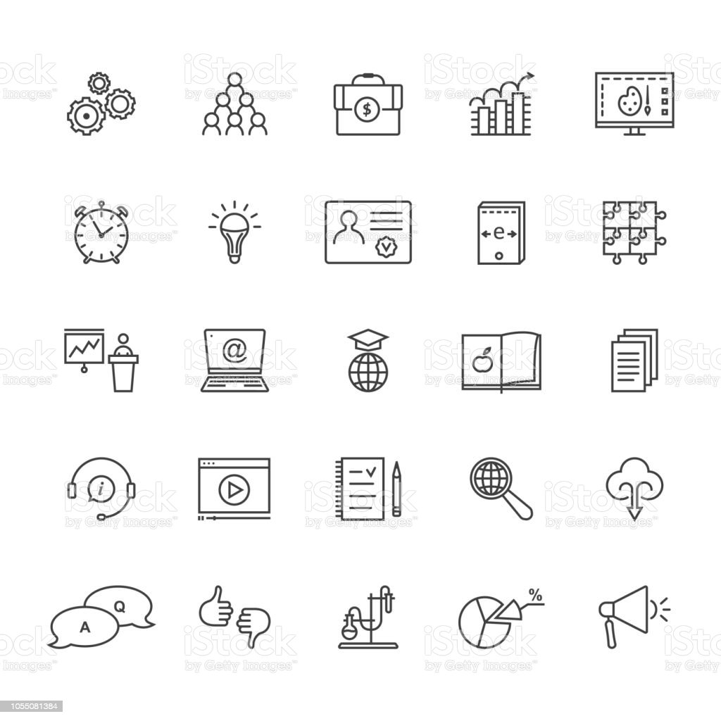 thin line set of education and e-learning isolated on white vector art illustration