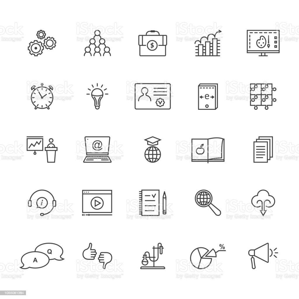 conjunto de la delgada línea de educación y aprendizaje aislado en blanco - ilustración de arte vectorial