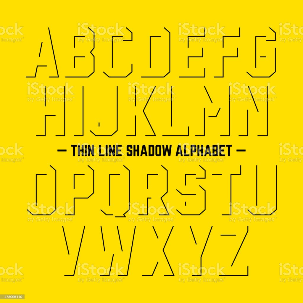 Thin line shadow alphabet vector art illustration