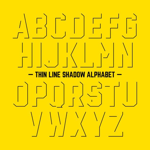 Thin line shadow alphabet vector art illustration