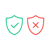 Thin line shields with check mark icons. Outline shields with green tick and red cross checkmarks flat line icons set. Vector illustration isolated on white background