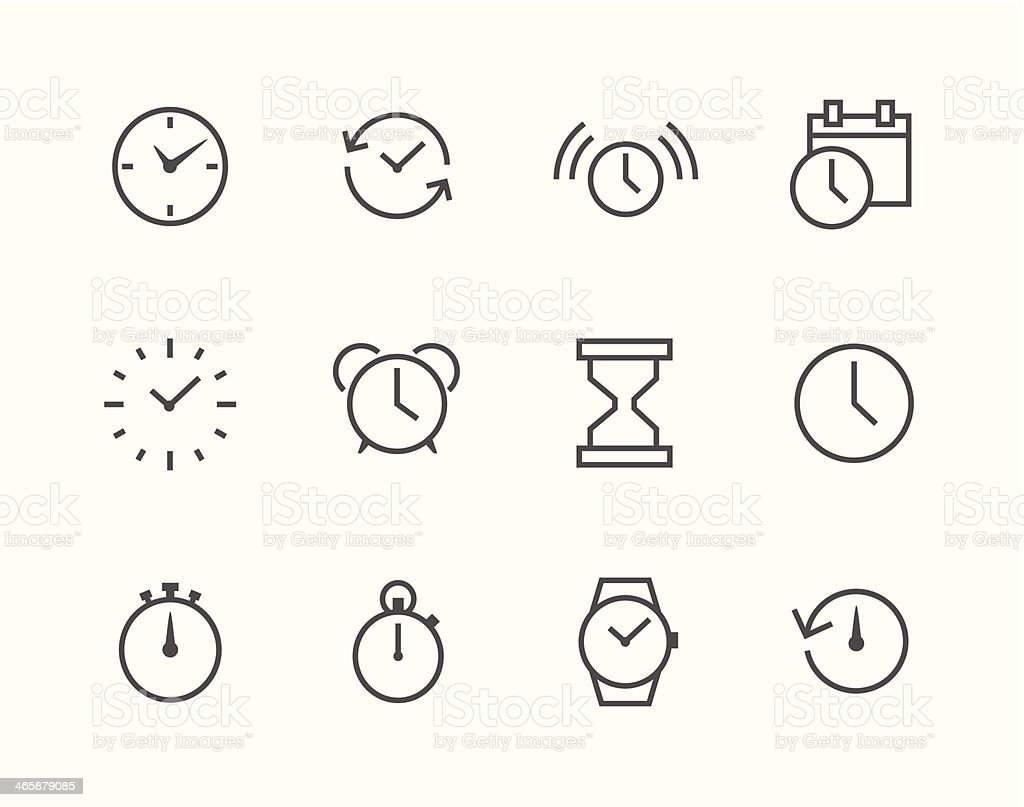 Thin line simple Icon set related to Time vector art illustration