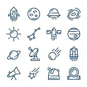 Thin line Space icons set, vector illustration