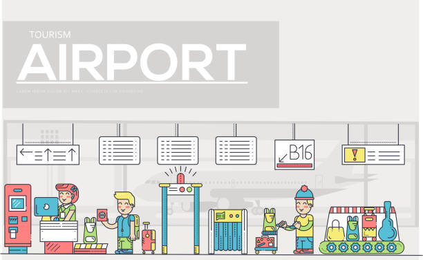 Thin line staff working and registering people and luggage in the airport design.  Registration outline vector illustration concept. vector art illustration