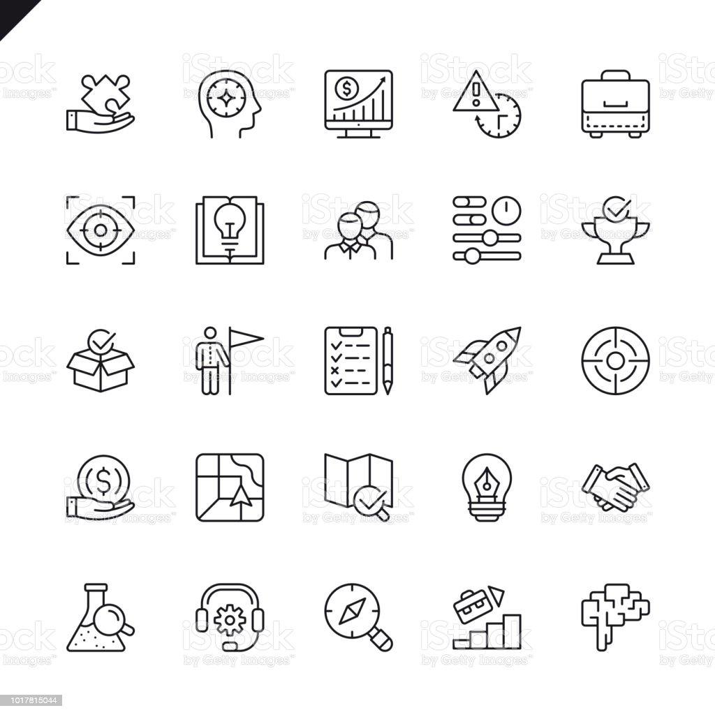 Icônes ensemble de fine ligne démarrage projet et développement des éléments icônes ensemble de fine ligne démarrage projet et développement des éléments vecteurs libres de droits et plus d'images vectorielles de affaires libre de droits