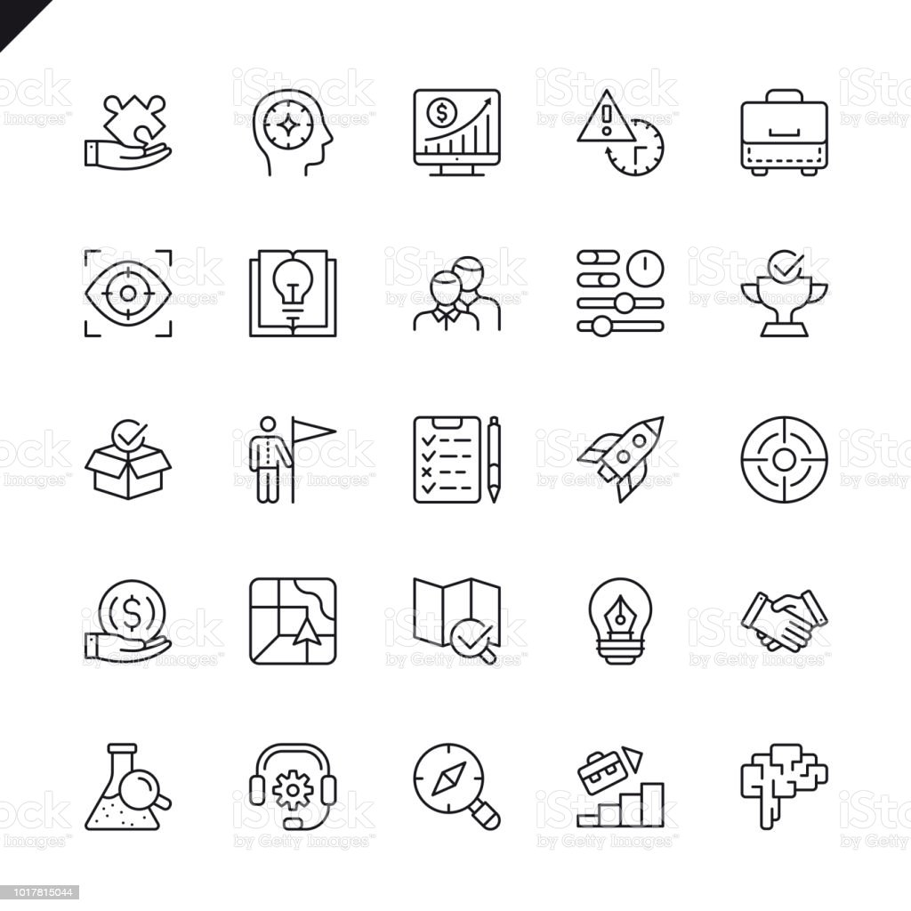 Set de iconos de elementos de inicio proyecto y desarrollo de delgada línea - ilustración de arte vectorial