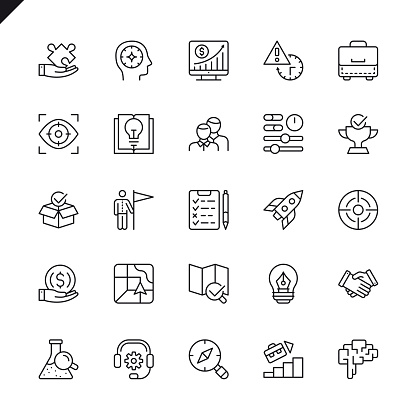 Thin Line Startup Project And Development Elements Icons Set Stock Illustration - Download Image Now