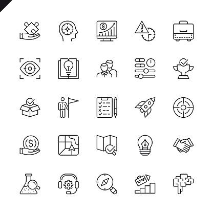 Icônes Ensemble De Fine Ligne Démarrage Projet Et Développement Des Éléments Vecteurs libres de droits et plus d'images vectorielles de Affaires