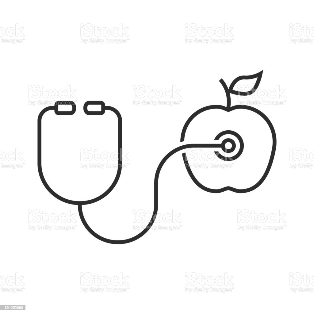 thin line stethoscope and apple royalty-free thin line stethoscope and apple stock vector art & more images of care