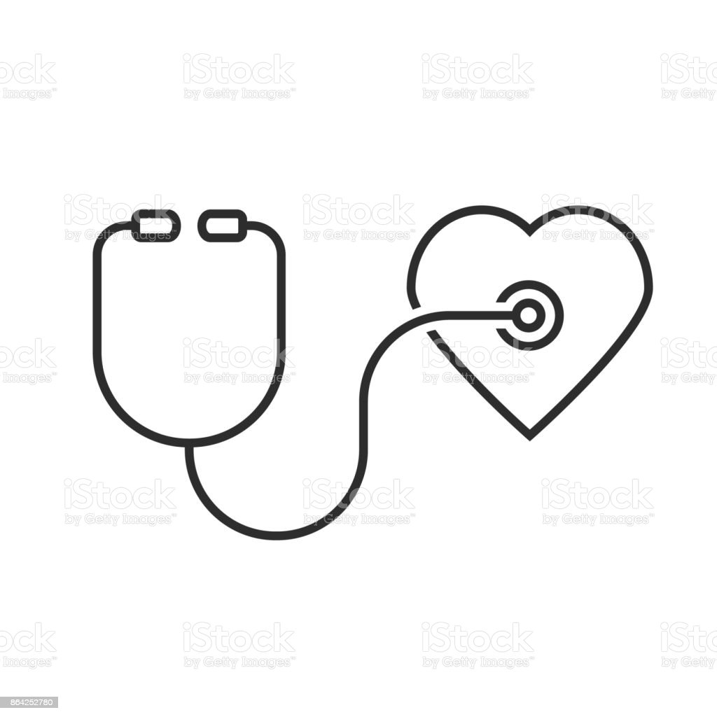 thin line stethoscope heart royalty-free thin line stethoscope heart stock vector art & more images of care