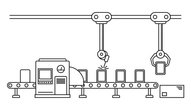 Thin line style assembly line. vector art illustration
