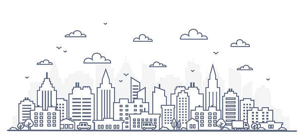 Thin line style city panorama. Illustration of urban landscape street with cars, skyline city office buildings, on light background. Outline cityscape. Wide horizontal panorama