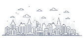 Thin line style city panorama. Illustration of urban landscape street with cars, skyline city office buildings, on light background. Outline cityscape. Wide horizontal panorama. Vector illustration