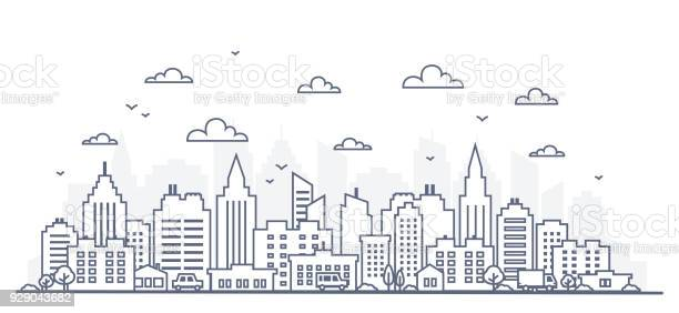 Thin line style city panorama illustration of urban landscape street vector id929043682?b=1&k=6&m=929043682&s=612x612&h=xj3nrpydlyrzklcnr1hyileqak8je ekag4y1zpz2fq=