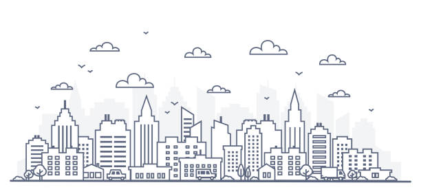 Thin line style city panorama. Illustration of urban landscape street with cars, skyline city office buildings, on light background. Outline cityscape. Wide horizontal panorama vector art illustration