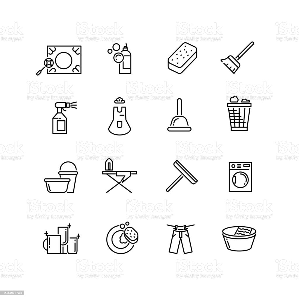 Thin line style cleaning vector icons vector art illustration